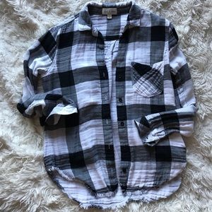 Cloth & Stone Black and White Plaid Flannel